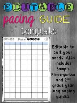 Editable Pacing Guide Template