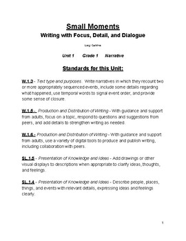 pacing guide for grade 1 unit 1 lucy calkins writing tpt rh teacherspayteachers com Lucy Calkins Writing Template Lucy Calkins Writing Template