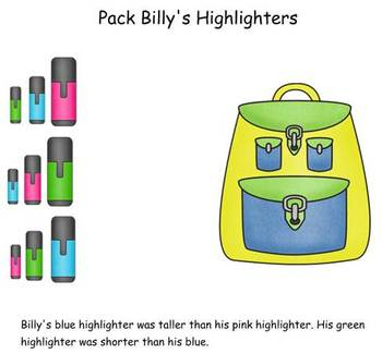 Pack Billy's Backpack SMART board lesson with worksheet  1.MD.1