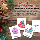 Pack Christmas Memory Flash Cards Games in Spanish French English Printable
