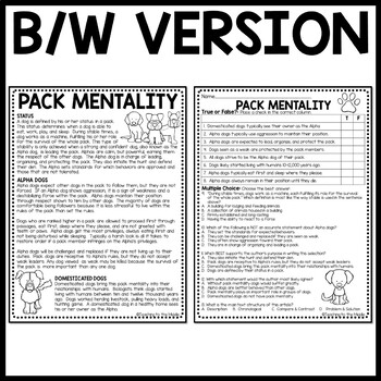 Pack Mentality in Dogs- Background for Call of the Wild- Informational Text