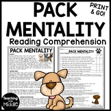 Pack Mentality in Dogs Reading Comprehension Worksheet Call of the Wild