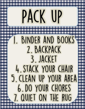 Pack Up, routine checklist, camping theme, poster