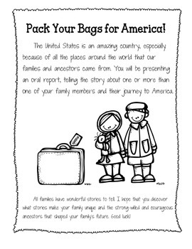 Pack Your Bags for America - Immigrant Report for Students - CCSS Aligned