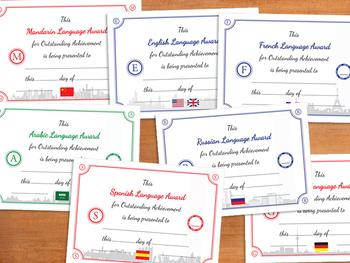 Save $1.50 - Pack of 7 Language Award Certificates