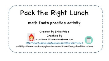 Pack the Right Lunch!  addition fact match game