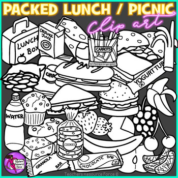 Packed Lunch / Picnic Snack Food clip art