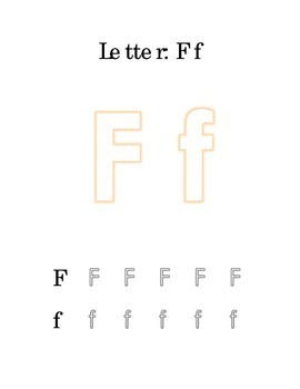 Packet 2 Letter F Color Trace Write Read