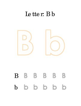 Packet Letter B Color Trace Write Read Alphabet Recognition Printable