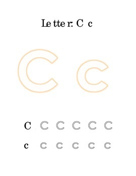 Packet Letter C Color Trace Write Read Alphabet Recognition Printable