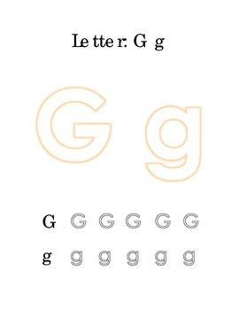 Packet Letter G Color Trace Write Read Alphabet Recognition
