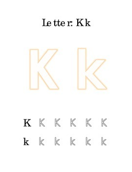 Packet Letter K Color Trace Write Read Alphabet Recognition