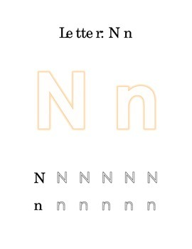 Packet Letter N Color Trace Write Read Alphabet Recognition
