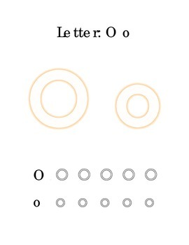 Packet Letter O Color Trace Write Read Alphabet Recognition