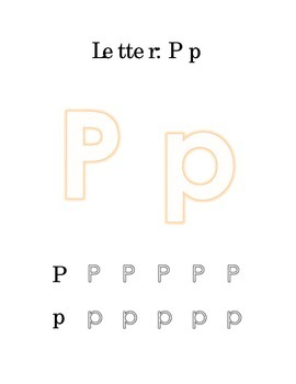 Packet Letter P Color Trace Write Read Alphabet Recognition Printable