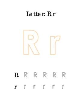 Packet Letter R Color Trace Write Read Alphabet Recognition