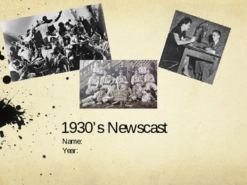 Packet for 1930's Newscast Project