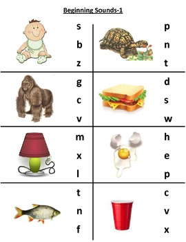 Packet of Beginning Sounds Activity Cards