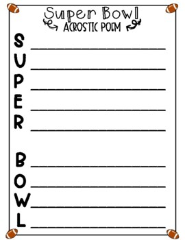 Packet of Engaging Activities for Super Bowl 52 - Will be Updated Each Year