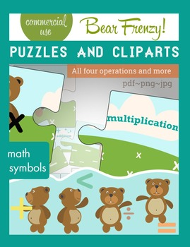 Packet of funny activities with bears, math symbols and pu