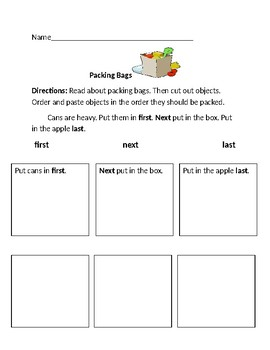 packing bags functional reading sequencing comprehension worksheet. Black Bedroom Furniture Sets. Home Design Ideas