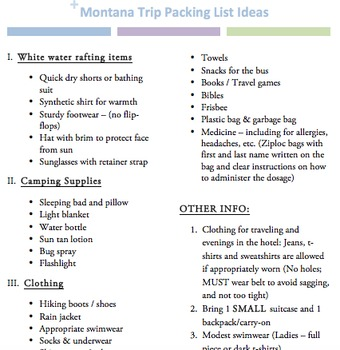 Packing List (Camping Trip)
