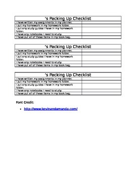 Packing Up Checklist FREE