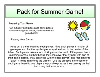 Packing for Summer Vacation: Game and Survey