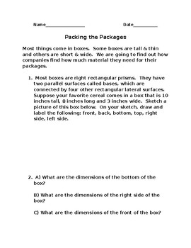 Packing the Packages-Surface Area