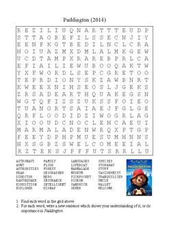 Paddington (2014) - Word Search Puzzle
