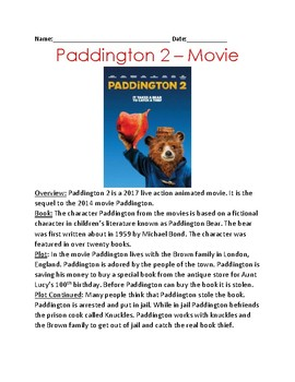 Paddington Bear 2 - Movie review plot facts  information questions word search
