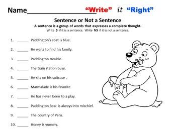 Paddington Bear  Writing and Grammar