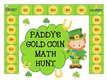 Kindergarten Math center- Fluently add and subtract within 10- St Paddy's Day