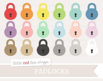 Padlock Clipart; Lock, Key, Keyhole, Vintage