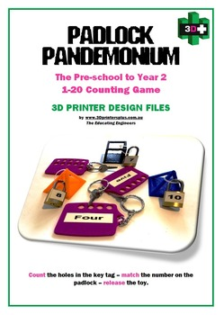 Padlock Pandemonium Lite - 1-20 Padlock Counting Game - (Tags 1-5 Only)