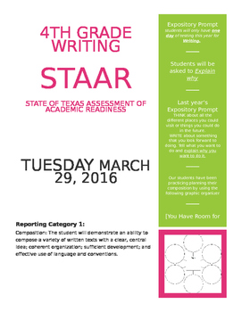 Page 1 STAAR Writing 4th grade awareness flyer