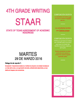 Page 1 STAAR Writing 4th grade awareness flyer-Spanish version