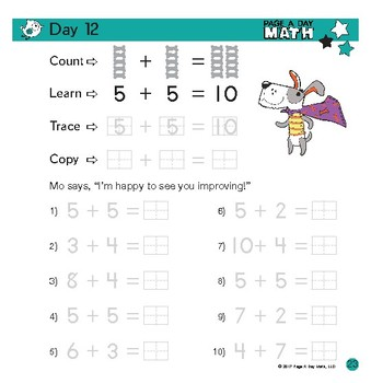 Page A Day Math ADDITION & MATH HANDWRITING series