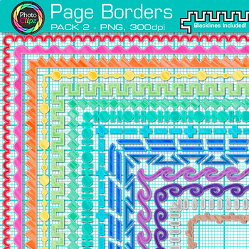 Page Border Clip Art {14 Rainbow Frames for Worksheets & Resources} 2