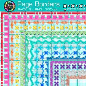 Page Border Clip Art {14 Rainbow Frames for Worksheets & Resources} 3