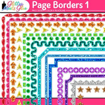 Border Clip Art {Rainbow Glitter Frames for Worksheets & Resources} 1