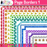 Border Clip Art: Rainbow Glitter Frame Graphics 1 {Glitter Meets Glue}