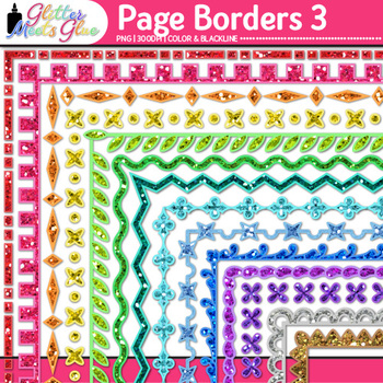 Border Clip Art {Rainbow Glitter Frames for Worksheets & Resources} 3