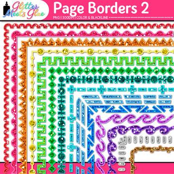 Border Clip Art Bundle {Rainbow Glitter Frames for Worksheets & Resources}