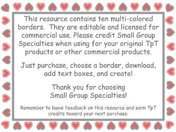 Valentine Borders/Frames - Multicolored Hearts