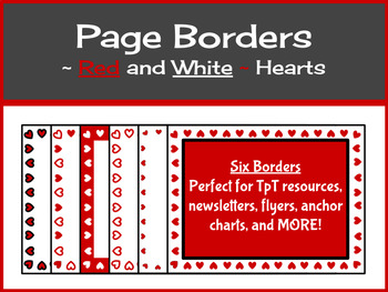 Valentine Borders/Frames - Red and White Hearts