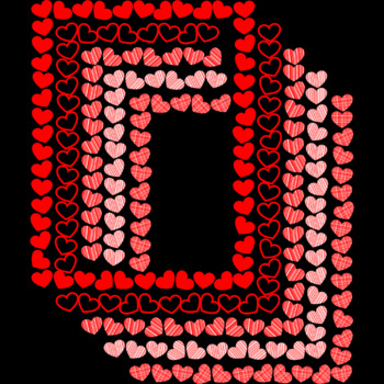 Page Borders, Valentine's Day Hearts Frames