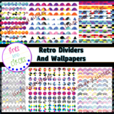 Dividers and Digital Papers Clipart - Retro Bundle