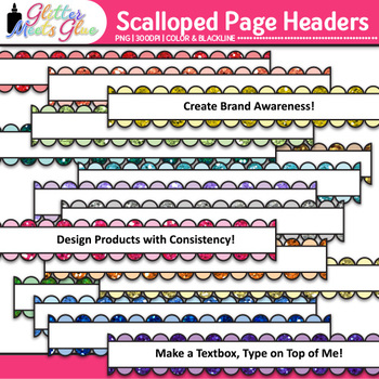 Scalloped Page Headers Clip Art {Design PowerPoint Presentations in Style}