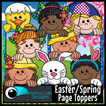 Easter Spring Page Toppers Clip Art